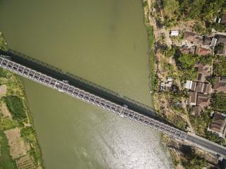 Aerial photo of long bridge in Kretek village, Yogyakarta, Indonesia. Taken 13 August 2018