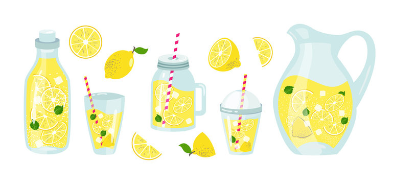 lemonade and lemons summer set with fruits