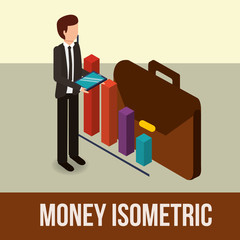 businessman holding tablet briefcase and diagram money vector illustration isometric