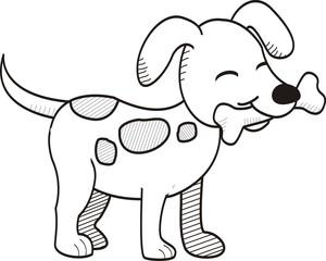 Cute dog bites bone hand drawn style