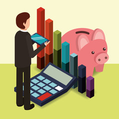 businessman holds mobile piggy bank calculator and diagram chart money vector illustration isometric