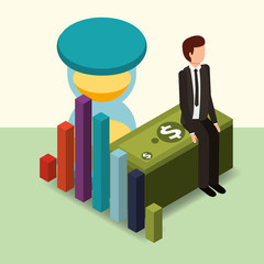 businessman sitting on banknote hourglass and diagram money vector illustration isometric