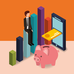 businessman sit on chart piggy bank card cellphone money vector illustration isometric