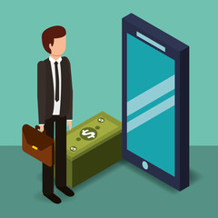 businessman holding briefcase smartphone and banknotes money vector illustration isometric