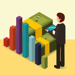 businessman with mobile chart business and banknotes money vector illustration isometric