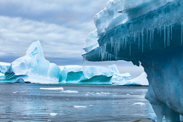 global warming and climate change concept, iceberg melting in Antarctica