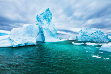 Antarctica beautiful cold landscape with icebergs, epic scenery, antarctic winter nature beauty