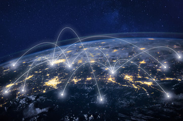 global network concept, information technology and telecommunication, planet Earth from space, business communication worldwide, original image furnished by NASA Fotomurales