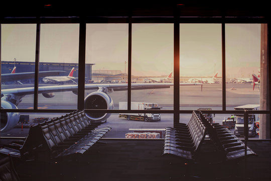 beautiful modern airport terminal and airplane waiting in the gate