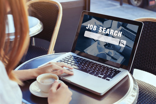 job search concept, find your career, woman looking at online website