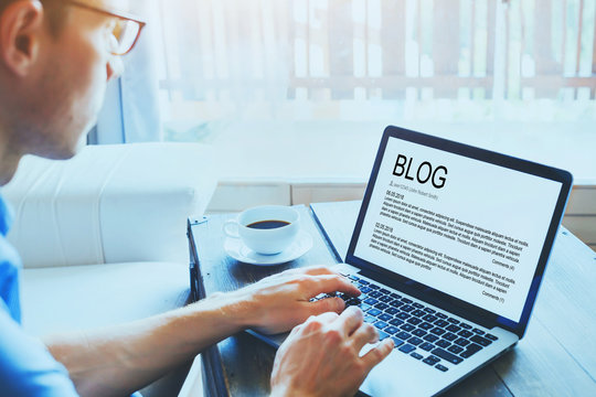 blog, blogger writing new article in the screen of laptop computer, blogging