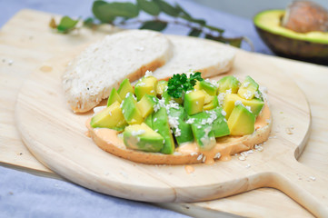 sliced bread with avocado