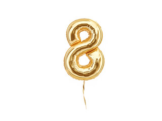 Numeral 8. Foil balloon number eight isolated on white background Wall mural