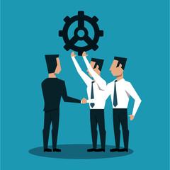 Businessmens holding big gear vector illustration graphic design