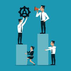 Business people working on statistics bars vector illustration graphic design