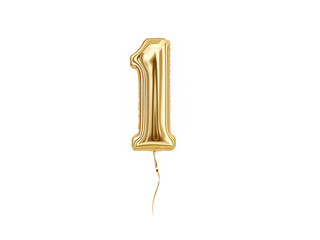 Numeral 1. Foil balloon number One isolated on white background Fototapete