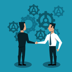 Businessmens shaking hands over gears background vector illustration graphic design