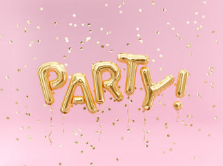Flying foil balloon Party letters and golden confetti on pink background.