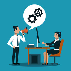 Businessman holding bullhorn and businesswoman working on computer vector illustration graphic design