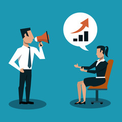 Business couple with bullhorn and talking about growing vector illustration graphic design