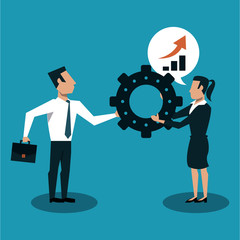 Business couple holding big gear vector illustration graphic design