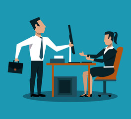 Business couple working at office with computer vector illustration graphic design