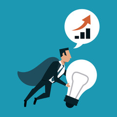 Businessman with cap holding bulb light and talking about growing vector illustration graphic design