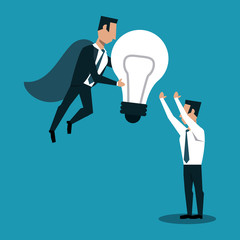 Businessman flying with bulb light and man receiving idea vector illustration graphic design