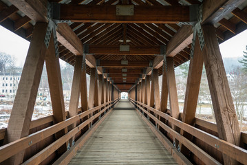 Wooden Covered bridge in New Hampshire