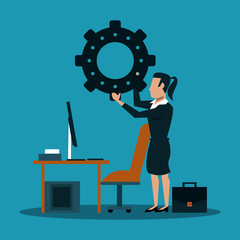 Businesswoman holding gear at office vector illustration graphic design