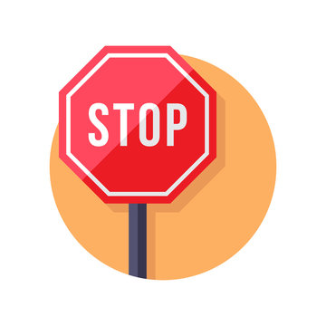 Stop sign illustration flat, stop sign board with stop writing, flat design vector illustration