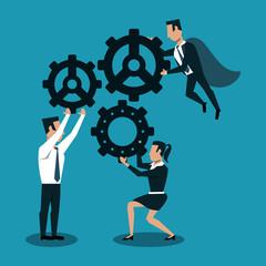 Business teamwork working on gears vector illustration graphic design