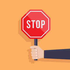 Stop sign illustration flat, hand hold stop sign, flat design vector illustration