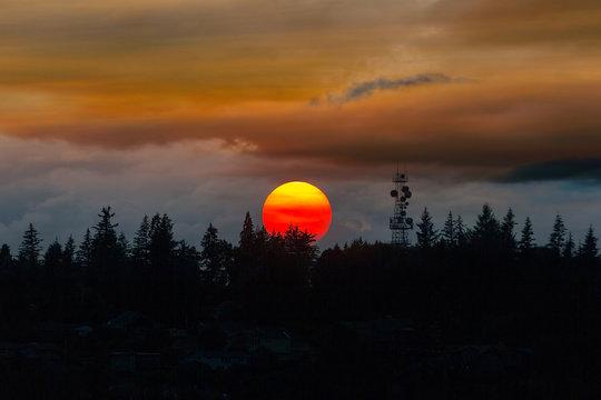 Smokey Sunset over Mount Scott in Happy Valley Oregon