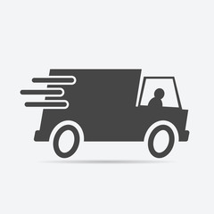 Fast shipping delivery truck icon flat style isolated on background. Fast shipping delivery truck sign symbol for web site and app design.