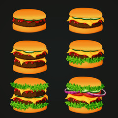 Set of fast food icons. Meat burgers with various ingredients.