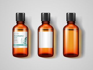 Set of isolated glassware bottles with eucalyptus oil. Jar with labels for pharmaceutical and medical advertising or ads, tin with perfume extract or antiseptic, inhalant. Medicine and health theme