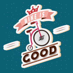 bike is good ribbon sign bicycle two person vector illustration