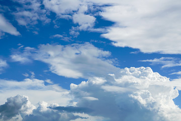Beautiful dark blue sky and white clouds go with each other after heavy rain purifying fine dusts in the air.