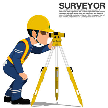 A surveyor is operating the optical level on transparent background
