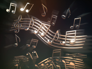 Golden musical notes and clef on the sheet.. Abstract musical background.
