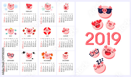 Pig emoji, emoticon calendar 2019 year of pig  Vector