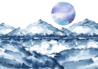 Watercolor blue mountain landscape, , peak, forest silhouette, reflection in the river, blue moon, full moon.