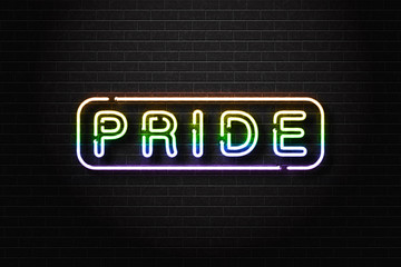 Vector realistic isolated neon sign of Pride logo for decoration and covering on the wall background.