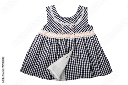 ac1cfff4ba0 Clothes for children. A black and white checkered dress with pink loop  isolated on white background. Children fashion.