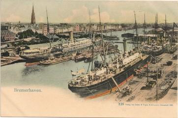 Bremerhaven; Neuer Hafen 1902 (original historische Postkarte)