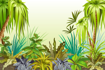 Background jungle for video and web design, online games, print, magazines, newspapers, books and posters. Vector illustration with space for text.