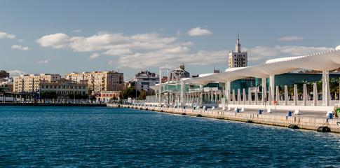 Waterfront promenade. Malaga seaport. Spain