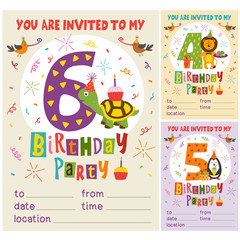 Happy Birthday invitation card template with funny animals from 4 to 6 - vector illustration, eps