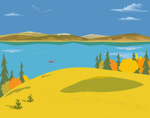 Mountain green valley landscape. Autumn yellow season lake scenic view poster.Trees on river bank in Alps mountains. Freehand cartoon outdoors retro style. Vector countryside scene banner background
